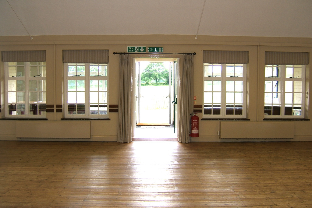 Main hall interior view towards verandah and playing field